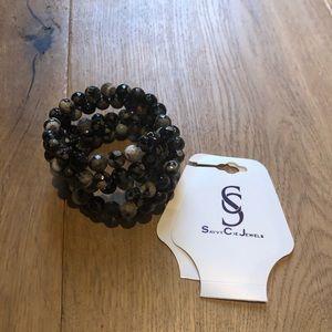 Savvy Cie Jewels Wrap Wire Wrap Beaded Bracelet